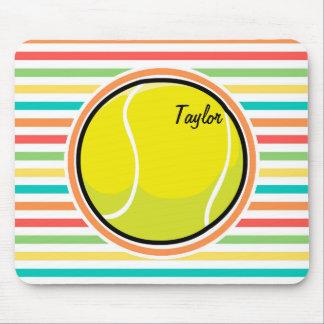 Balle de tennis ; Rayures lumineuses d'arc-en-ciel Tapis De Souris