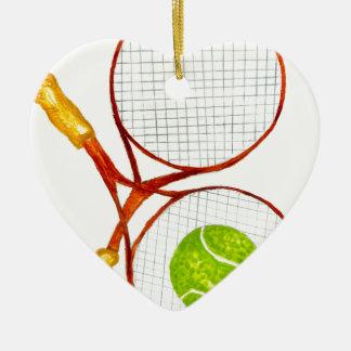 Balle de tennis Sketch2 Ornement Cœur En Céramique