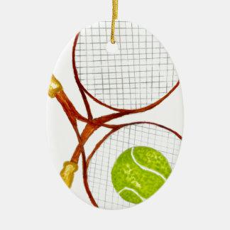 Balle de tennis Sketch2 Ornement Ovale En Céramique