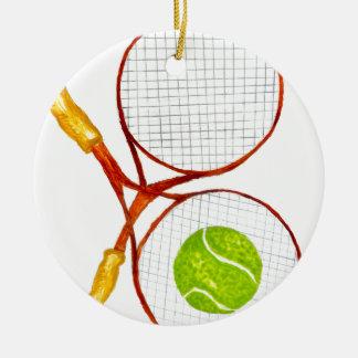 Balle de tennis Sketch2 Ornement Rond En Céramique
