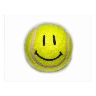 Balle de tennis souriante de visage carte postale