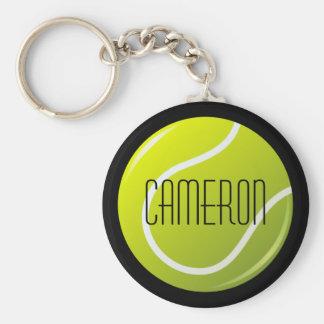 Balle de tennis sur le nom personnalisé par porte-clé rond