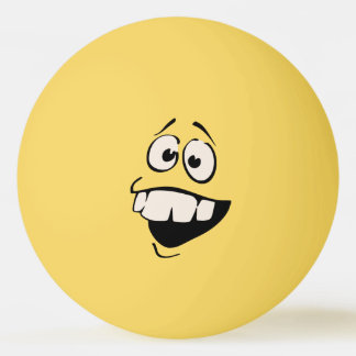 Balle Tennis De Table Boule de ping-pong souriante de visage de dents de