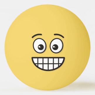 Balle Tennis De Table Grimacerie du visage avec les yeux ouverts