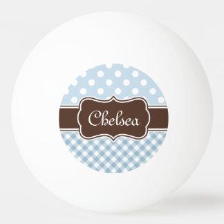 Balle Tennis De Table Le guingan bleu de point de polka modèle le nom de