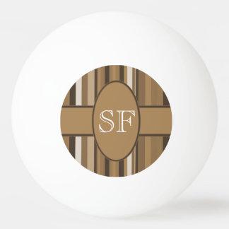 Balle Tennis De Table Monogramme beige de rayure de Brown