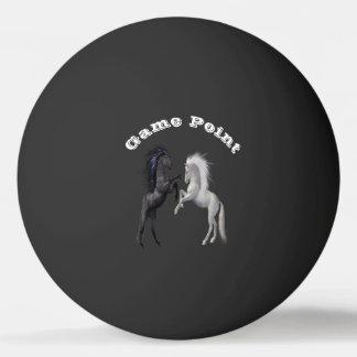Balle Tennis De Table Noir et un cheval blanc qui combattent