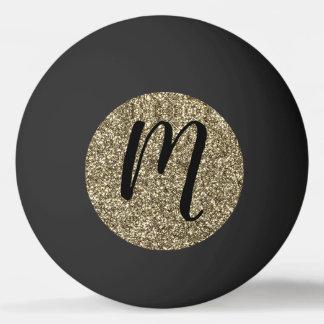 Balle Tennis De Table Parties scintillantes décorées d'un monogramme de