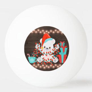 Balle Tennis De Table Petit ours blanc mignon avec des lumières de Noël