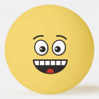 Balle Tennis De Table Visage de sourire avec la bouche ouverte