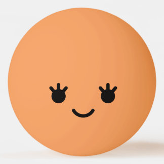 Balle Tennis De Table Visage souriant drôle mignon de Kawaii. Emoji.