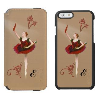 Ballerine avec la fan, monogramme personnalisable coque-portefeuille iPhone 6 incipio watson™