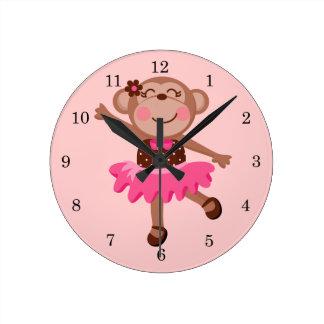 Ballerine de singe horloge ronde