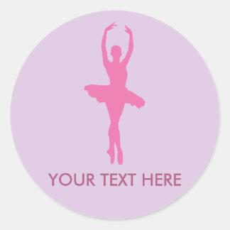 Ballerine rose de danse sticker rond