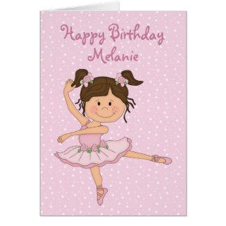 Ballerine rose mignonne 1 carte d'anniversaire