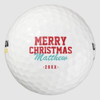 Balles De Golf Boules de golf de monogramme de Joyeux Noël