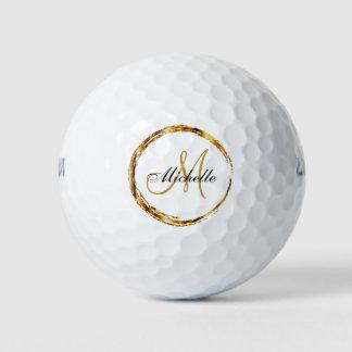 Balles De Golf Cercle d'or de monogramme et nommé élégant