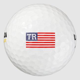 Balles De Golf Drapeau américain patriotique de lettre décorée