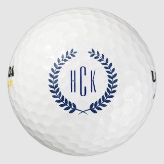 Balles De Golf Guirlande bleue d'abrégé sur tons de monogramme