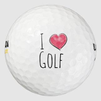 Balles De Golf J'aime le coeur de rouge de golf