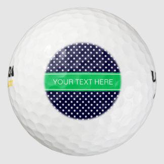 Balles De Golf Monogramme de nom de vert vert de point de polka