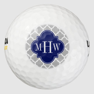 Balles De Golf Monogramme initial de la marine #5 3 de blanc gris