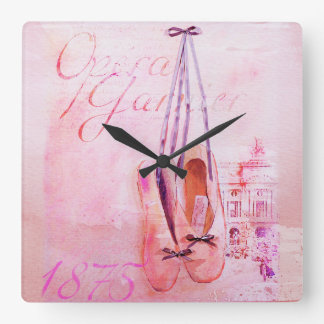 Ballet rose vintage de danseuse de ballerine horloge carrée