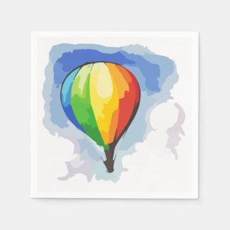 Ballon à air chaud d'arc-en-ciel serviettes jetables