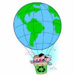 Ballon à air chaud de jour de la terre découpage en acrylique