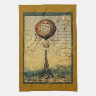 Ballon à air chaud de Steampunk de Tour Eiffel de  Serviette Éponge