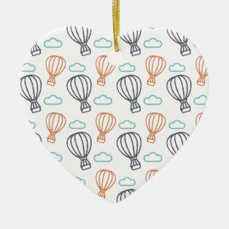 Ballon à air chaud ornement cœur en céramique