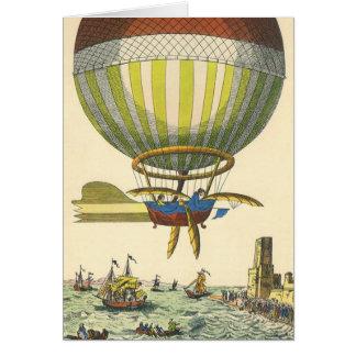 Ballon à air chaud vintage de Steampunk de la Carte De Vœux