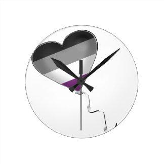 Ballon asexuel de coeur de fierté horloge ronde