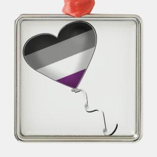 Ballon asexuel de coeur de fierté ornement carré argenté