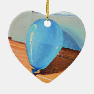 Ballon bleu ornement cœur en céramique