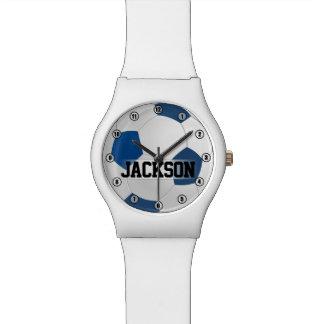 Ballon de football bleu avec des enfants de nom ou montres bracelet