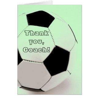 Ballon de football classique - merci, entraîneur carte de vœux