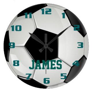 Ballon de football de monogramme grande horloge ronde