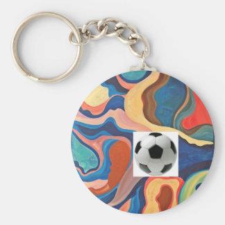 Ballon de football en fer à cheval porte-clé rond