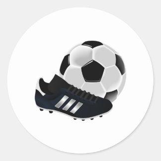 Ballon de football et crampons sticker rond