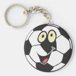 ballon de football heureux de bande dessinée porte-clef