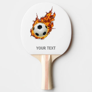 Ballon de football personnalisé sur le feu raquette de ping pong