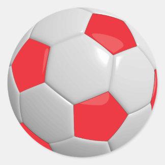 Ballon de football rouge et blanc de sport sticker rond