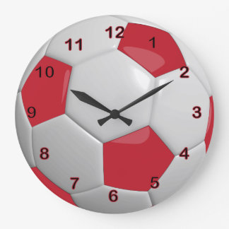 Ballon de football   rouge foncé grande horloge ronde