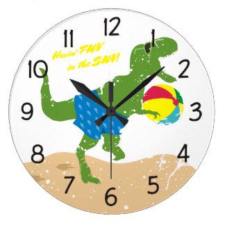Ballon de plage drôle d'été de dinosaure de rex de grande horloge ronde