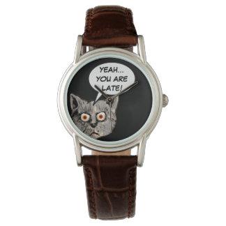 ballon drôle noir de la parole de chat montres bracelet