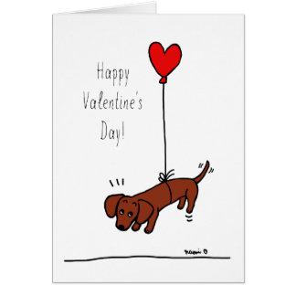 Ballon lisse rouge de Valentine de teckel Carte De Vœux