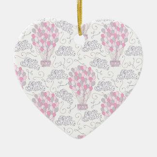 Ballons à air chauds dans l'art rose de crèche ornement cœur en céramique