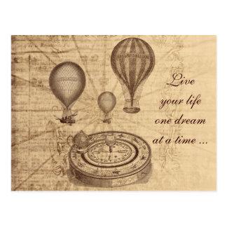 Ballons à air chauds vintages - steampunk carte postale