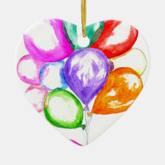 Ballons colorés gonflables ornement cœur en céramique